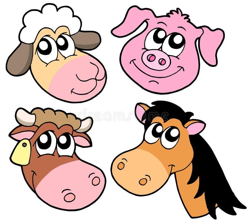 动物收集详述农场 库存例证
