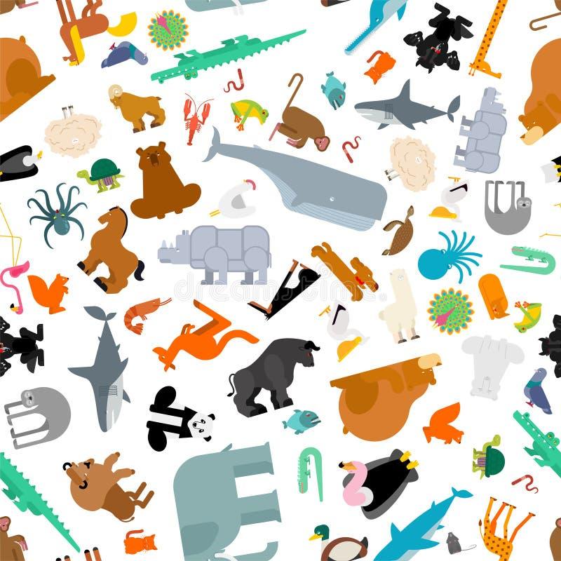 动物无缝集合的样式 野兽汇集背景 逗人喜爱的动画片动物纹理 Â密林和森林狂放的自然 动物区系  库存例证