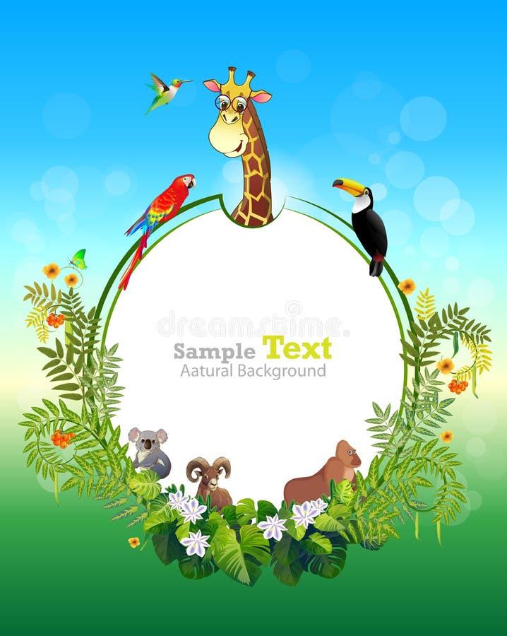 动物春天的密林 向量例证