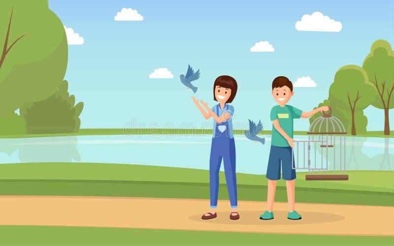 动物权力活动家平的传染媒介例证 有开放鸟笼解放的鸠平的字符的动画片志愿者 库存例证