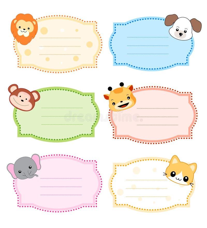 动物框架标签 库存例证