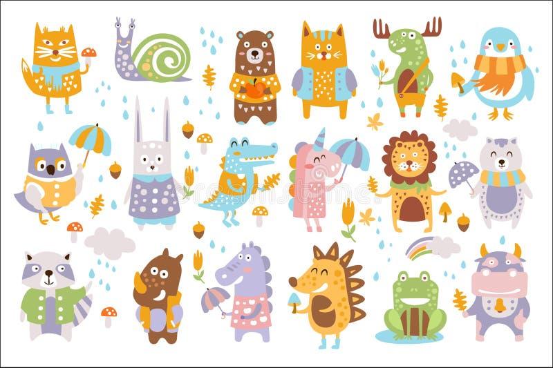 动物森林地秋天传染媒介集合 逗人喜爱的动物传染媒介集合动画片  向量例证