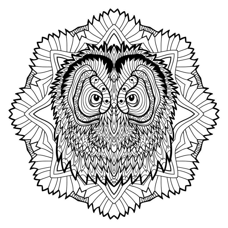 动物概念 设计线路 猫头鹰的头 向量例证