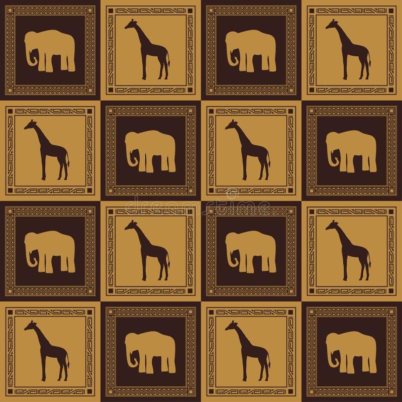 动物模式无缝通配 向量例证