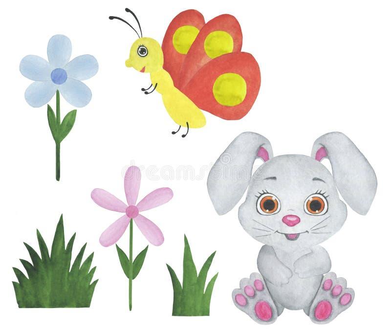 动物水彩幼稚例证野兔青蛙猫蝶粉花设计儿童房间贺卡请帖 向量例证