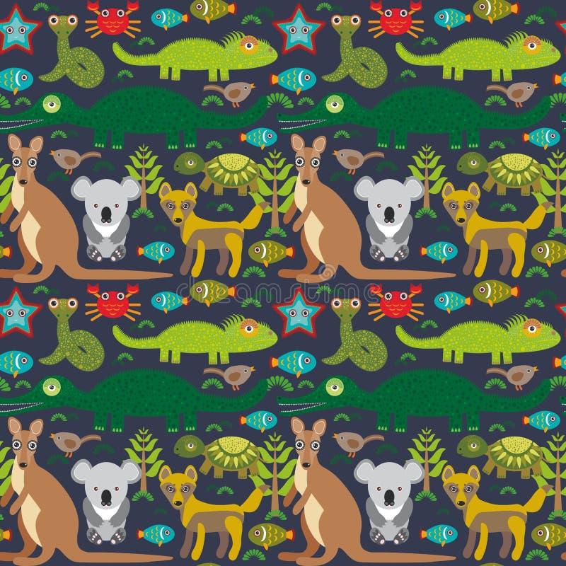 动物澳大利亚蛇,乌龟,鳄鱼, alliagtor,袋鼠,流浪者 在黑暗的背景的无缝的样式 向量 向量例证