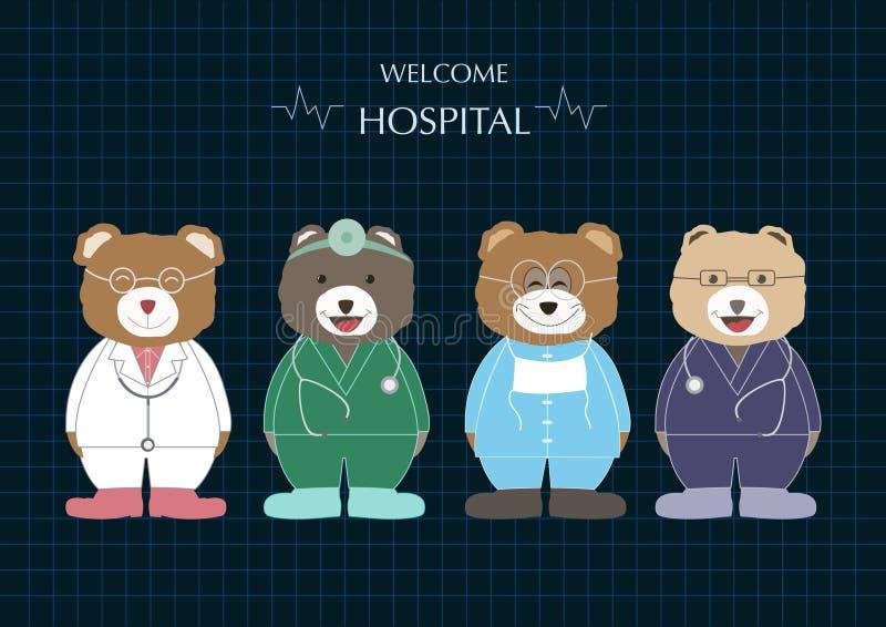 动物熊医生动画片,医疗保健,传染媒介例证 库存例证
