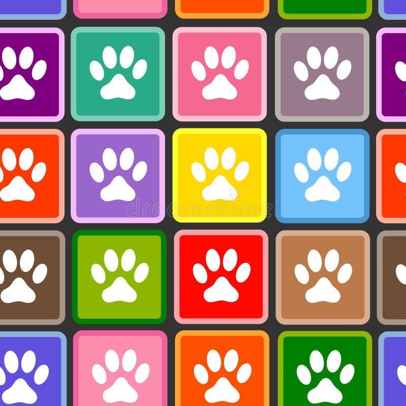 动物爪子在色的正方形无缝的样式打印 库存例证