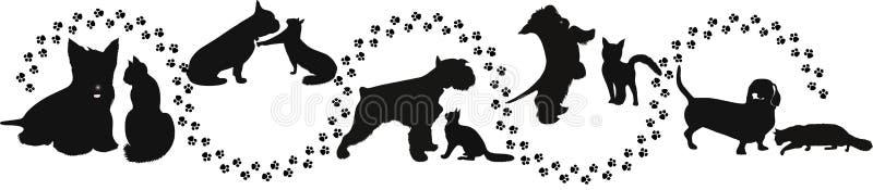 动物猫和狗 皇族释放例证