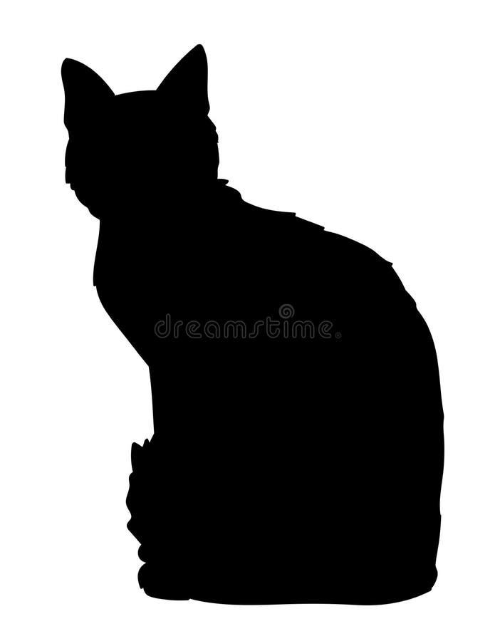 动物猫字符逗人喜爱的愉快的例证查出坐 全部赌注黑剪影的Iillustration在白色背景的 您的设计的元素,印刷品 皇族释放例证
