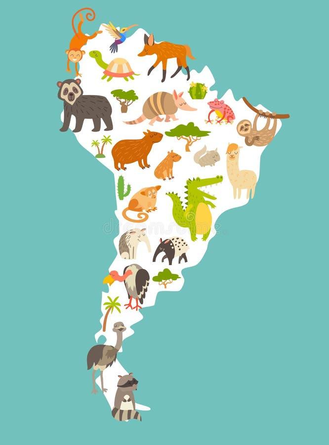 动物界地图,南美 孩子和孩子的五颜六色的动画片传染媒介例证 向量例证