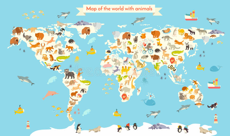 动物界地图 孩子和孩子的五颜六色的动画片传染媒介例证 免版税库存图片