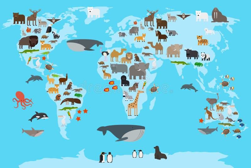 动物界地图 向量例证