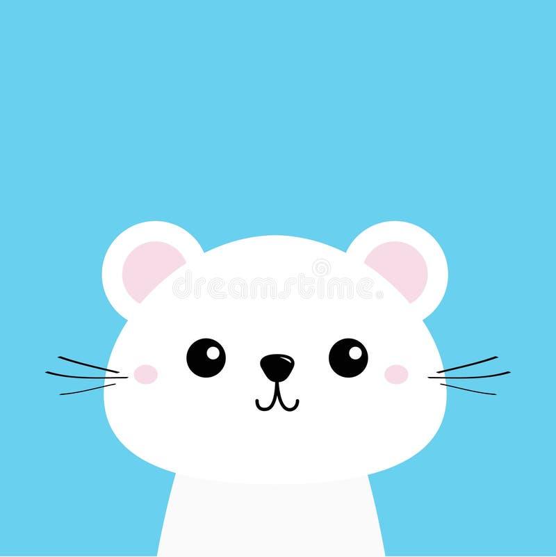 动物白色 逗人喜爱的kawaii漫画人物 滑稽的顶头婴孩面孔 8个看板卡eps文件招呼的包括的模板 背景看板卡祝贺邀请 平的设计 向量例证