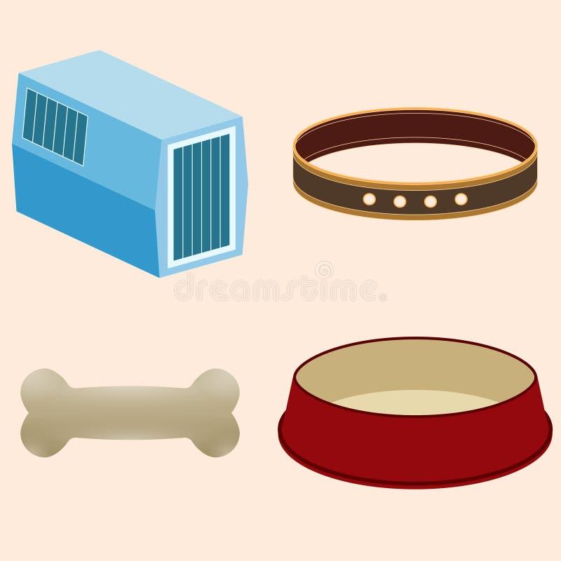 动物的辅助部件 碗,衣领,载体动物,骨头 皇族释放例证