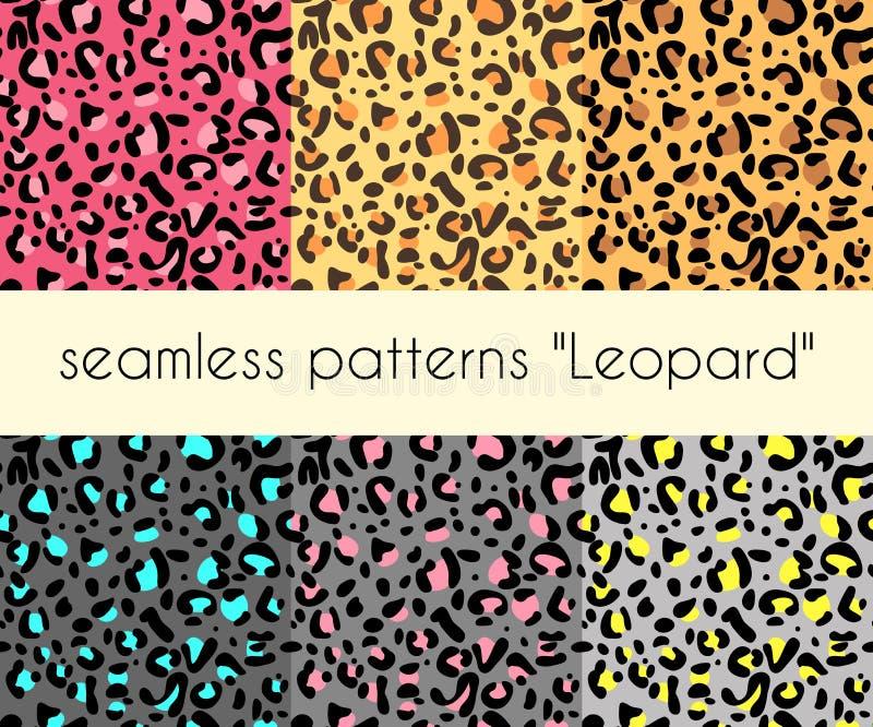 动物皮毛无缝的豹子样式传染媒介 设置6个样式 皇族释放例证