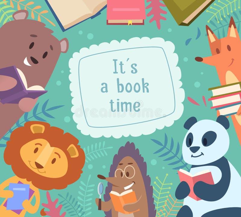 动物看书 回到学校与滑稽的动物的背景框架在传染媒介动画片孩子字符附近 库存例证