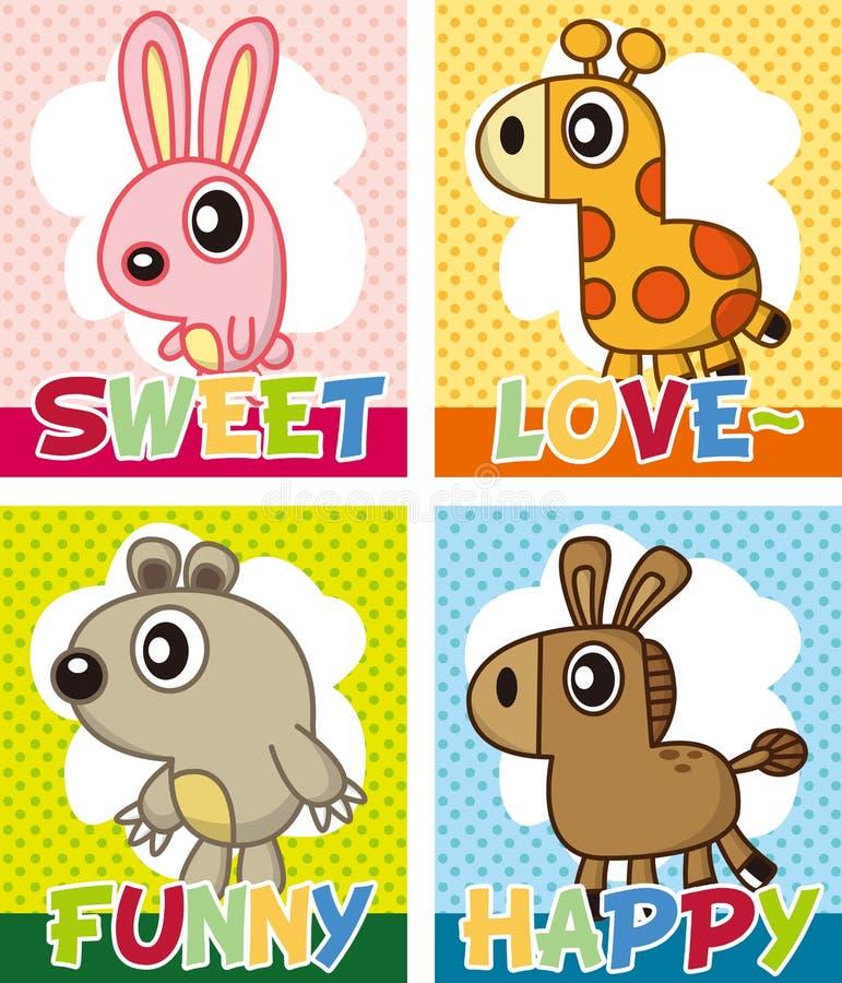 动物看板卡动画片 库存例证