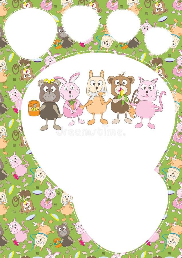 动物看板卡动画片eps模式 库存例证