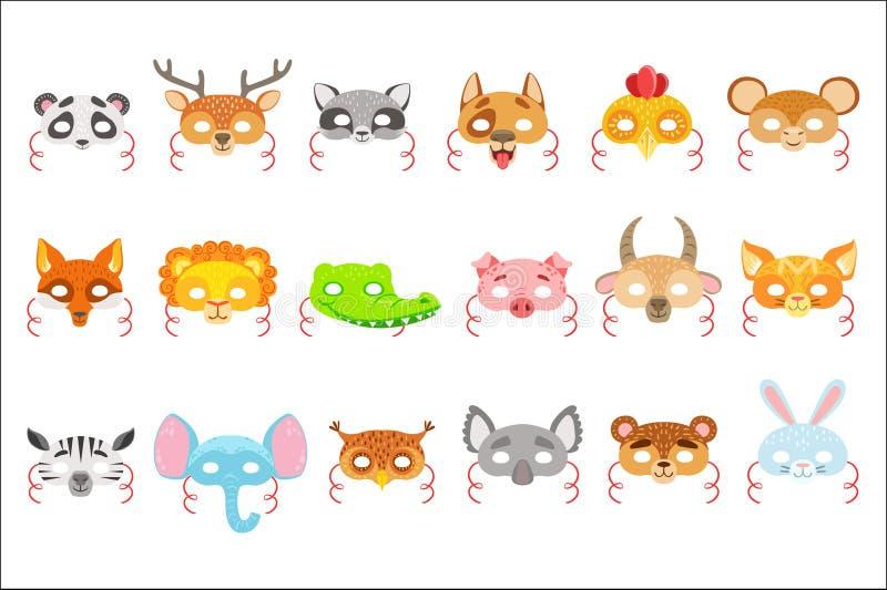 动物纸面具设置了象 孩子在白色背景在简单的五颜六色的样式隔绝的狂欢节服装的面具 库存例证