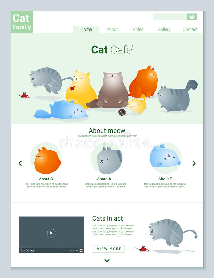 动物网站模板横幅和infographic与猫故事 库存例证