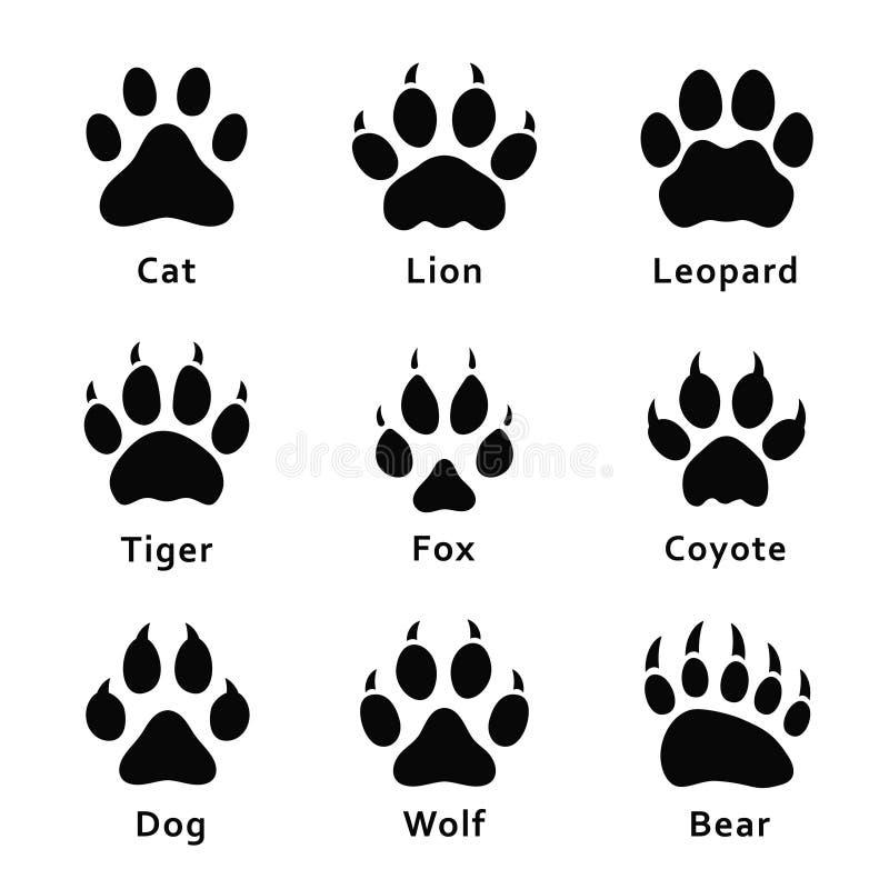 动物脚印,爪子印刷品 设置不同的动物和掠食性动物脚印和踪影 向量例证