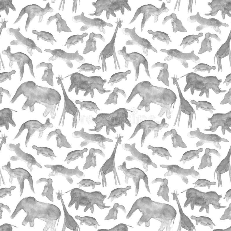 动物艺术摘要水彩无缝的样式背景 向量例证