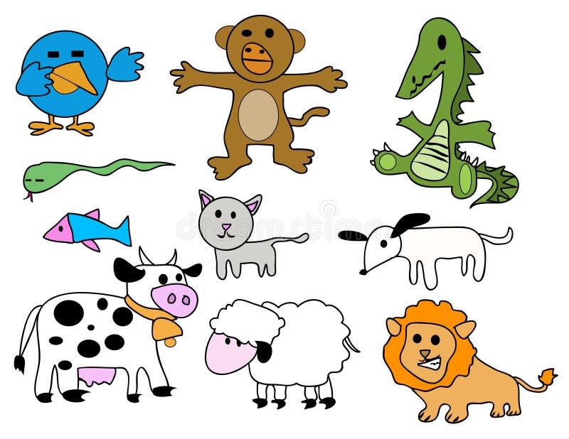 动物被设置的风格化向量 库存例证