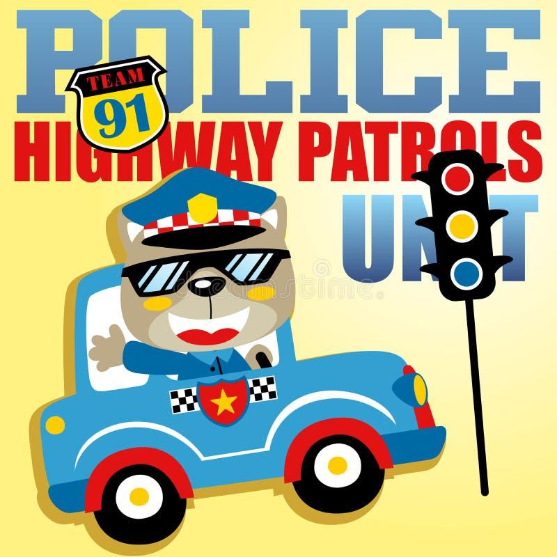 动物警察巡逻动画片与红灯和警察商标的 向量例证