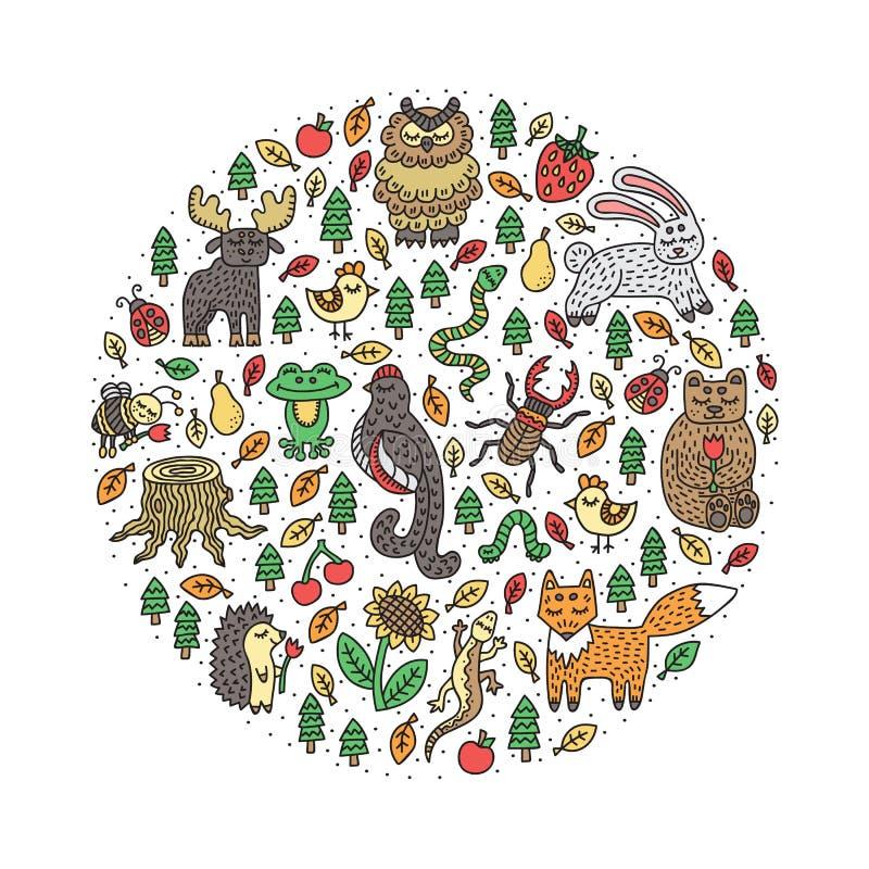 动物设置了通配 森林自然 逗人喜爱的手拉的乱画 查出的要素 也corel凹道例证向量 皇族释放例证