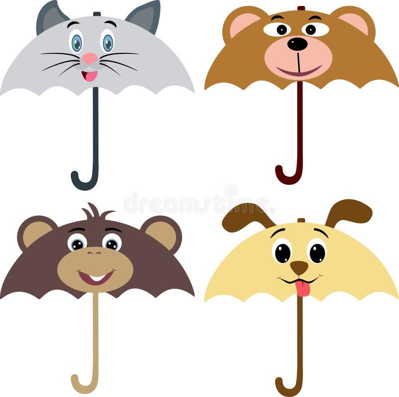 动物设计伞 库存例证