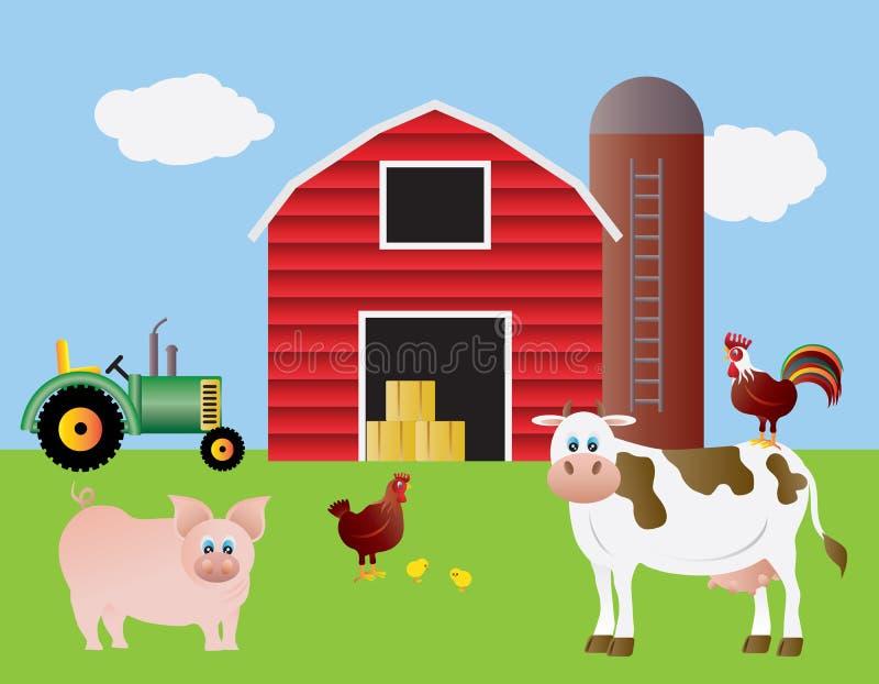 动物谷仓农厂红色拖拉机 向量例证