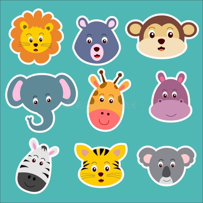 动物贴纸 逗人喜爱的动物面孔例证 动物动画片被画的现有量查出的向量白色 向量例证