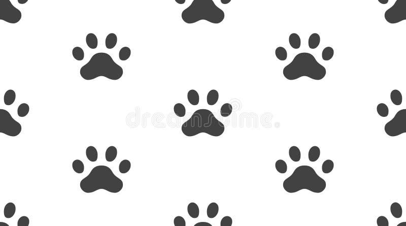 动物轨道导航与平的象的无缝的样式 黑白色宠物爪子纹理 狗,猫脚印背景 向量例证