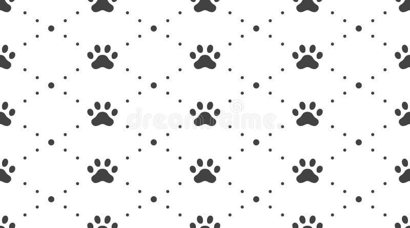 动物轨道导航与平的象的无缝的样式 黑白色宠物爪子纹理 狗,猫脚印背景 库存例证