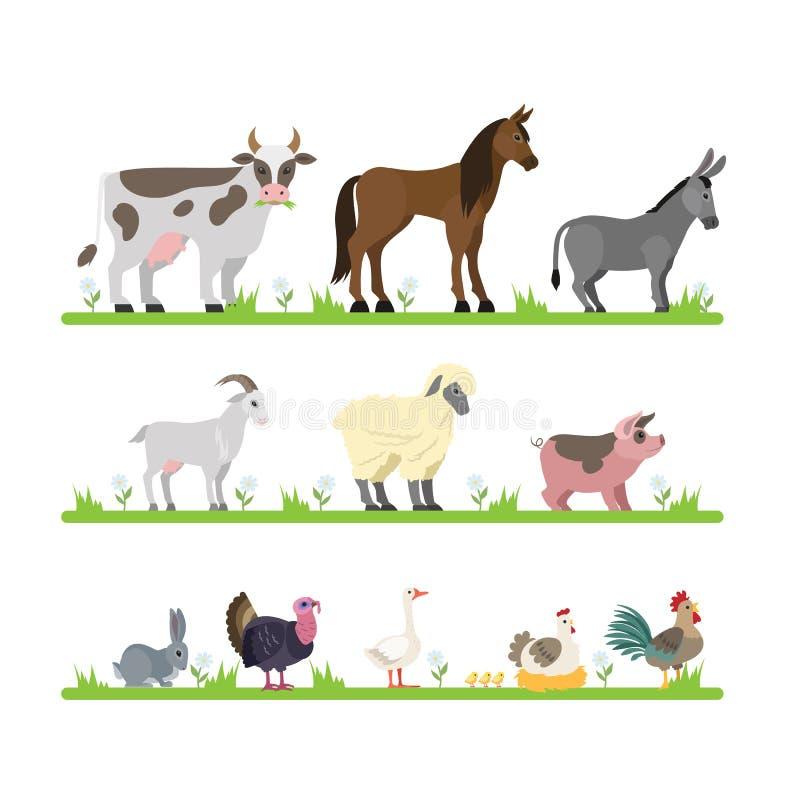 动物逗人喜爱的农厂集 向量例证
