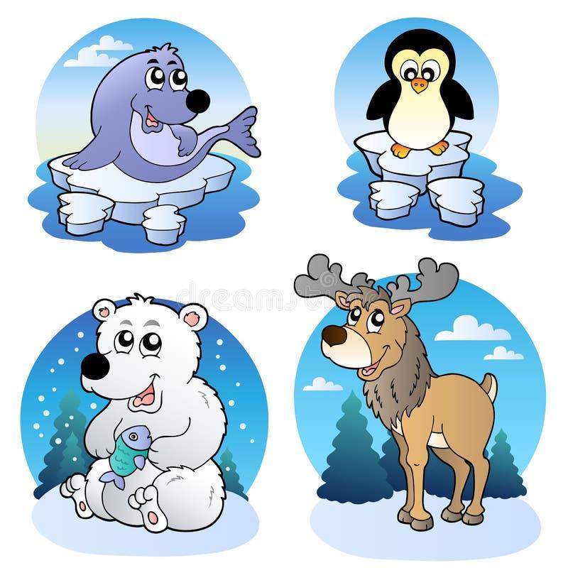 动物逗人喜爱的多种冬天 向量例证