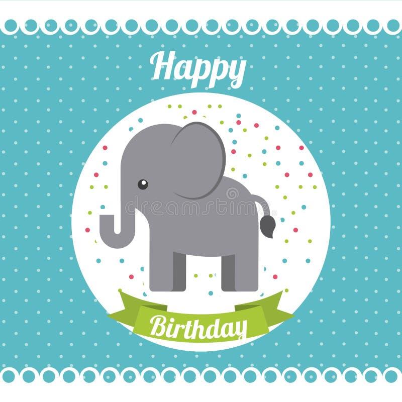 动物逗人喜爱的生日聚会庆祝 皇族释放例证