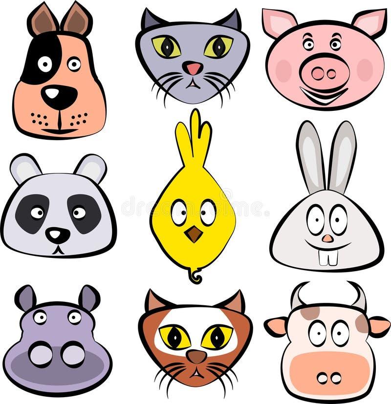 动物逗人喜爱的集 狗,猫,猪,熊猫,小鸡,小兔,河马,狐狸,母牛面对 传染媒介模板准备好p 向量例证