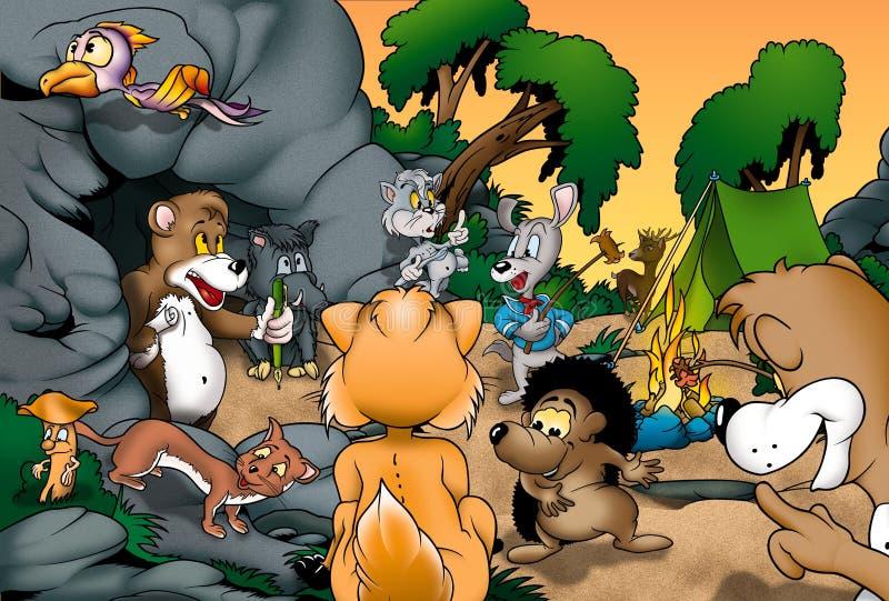 动物野营 库存例证