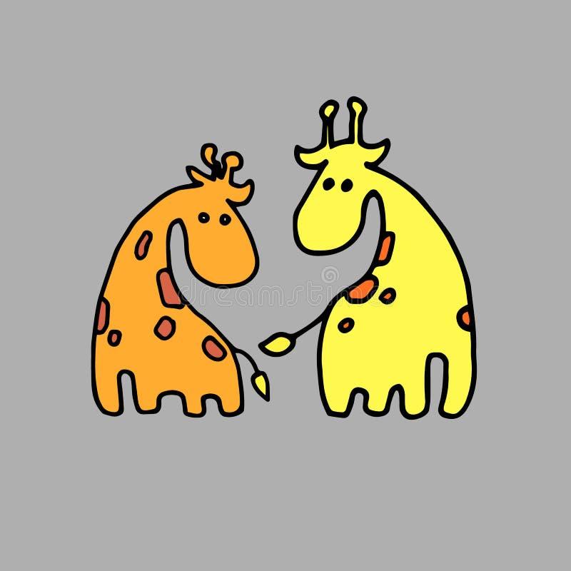动物长颈鹿传染媒介非洲例证徒步旅行队哺乳动物的逗人喜爱的afr 皇族释放例证