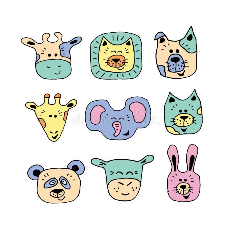 动物面孔集合手图画 向量例证