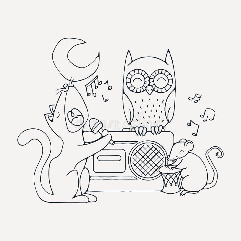 动物音乐带、猫、鼠和猫头鹰 库存例证