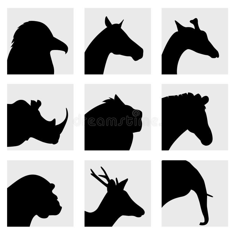 动物顶头剪影 库存例证