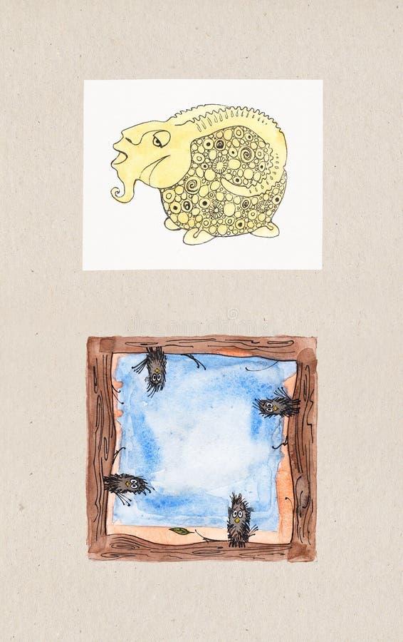 动物题材的水彩例证 免版税库存照片