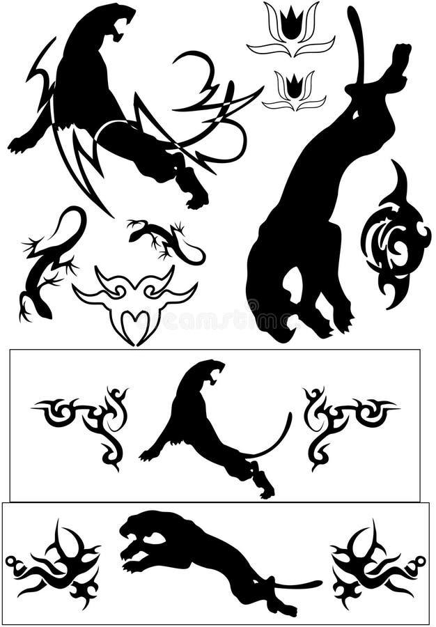 动物黑色tatoos向量 向量例证