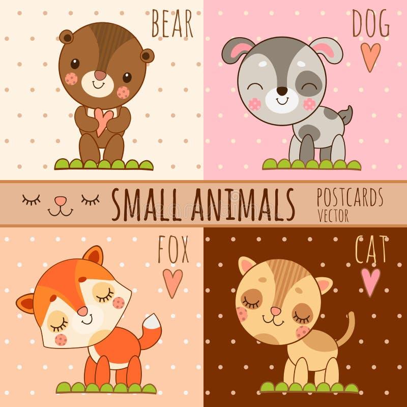 动物,动画片集合的四个简单的逗人喜爱的图象 皇族释放例证