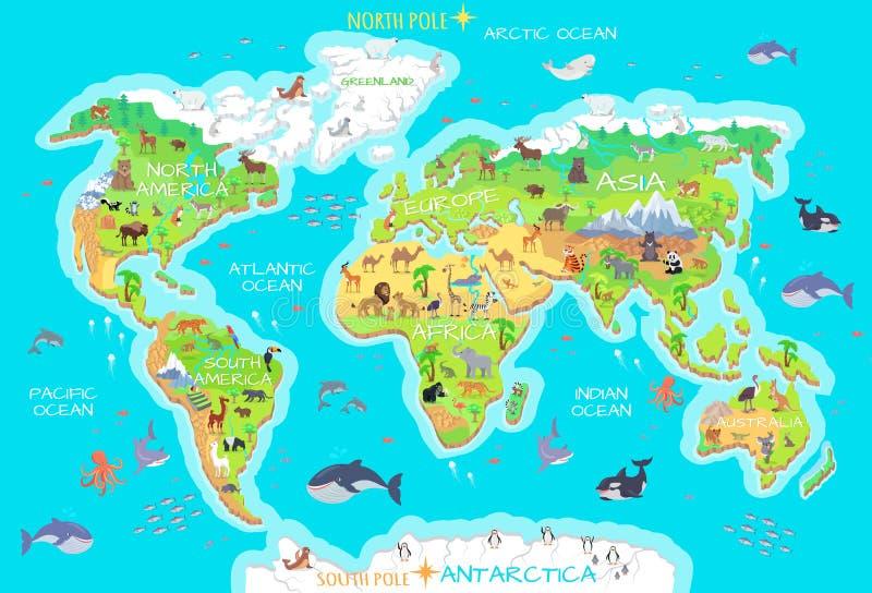 动物,并且他们居住的地方 其本质我们的行星保护 地球 向量例证