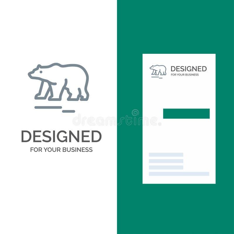 动物,熊,极性,加拿大灰色商标设计和名片模板 向量例证