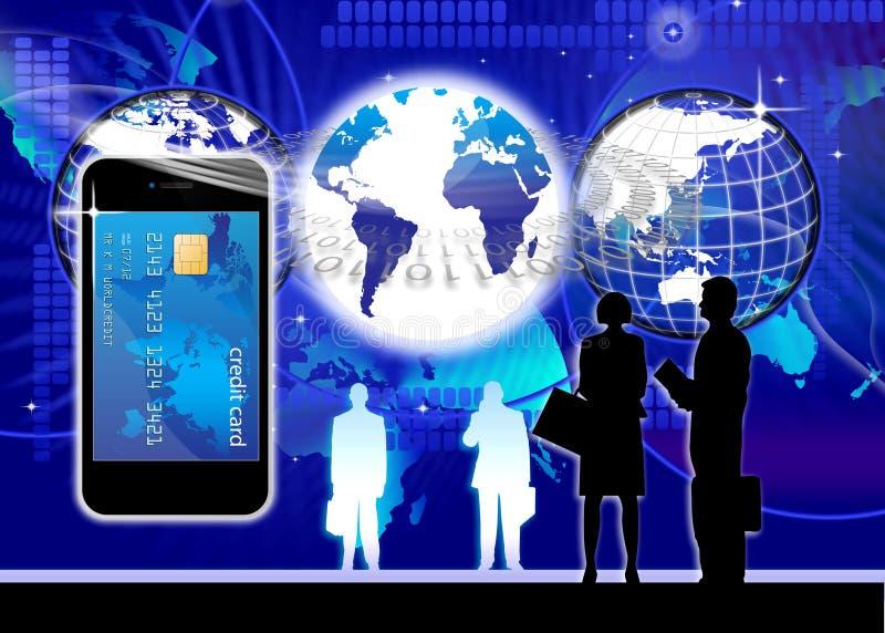 移动电话信用卡概念 皇族释放例证